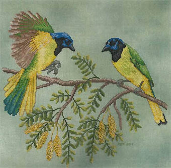 Green Jays - Cross Stitch Pattern
