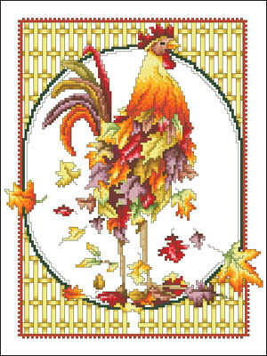 October Rooster - Cross Stitch Pattern