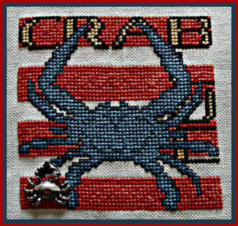 Wordplay - Blue Crab (w/charm) - Cross Stitch Pattern