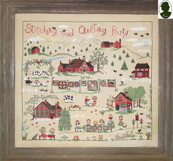 Stitching And Quilting Party (w/button) - Cross Stitch Patte