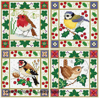 Christmas Bird Cards - Cross Stitch Pattern