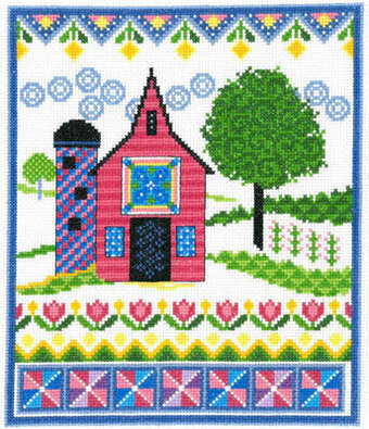Barn With Spring Quilts - Cross Stitch Pattern