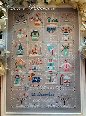 Shabby Winter Calendar - Cross Stitch Pattern