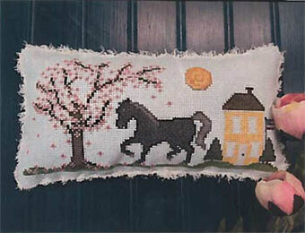 Big Black Horse and the Cherry Tree - Cross Stitch Pattern