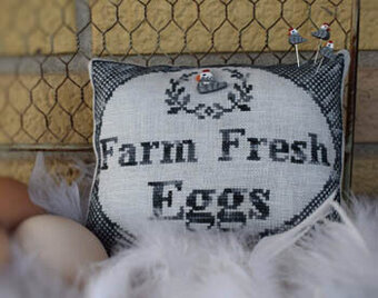 Farm Fresh Eggs (w/button) - Cross Stitch Pattern