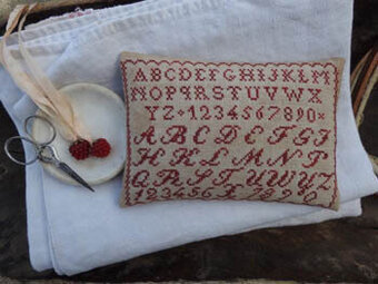 Little Redwork Pinkeep - Cross Stitch Pattern