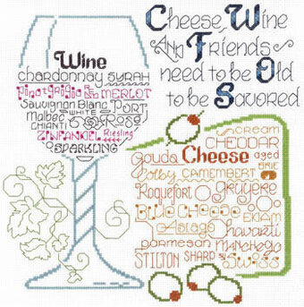 Let's Share Wine and Cheese - Cross Stitch Pattern