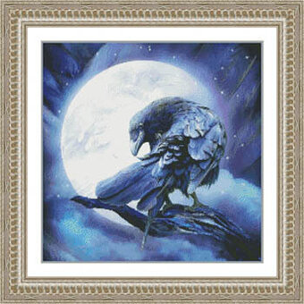 Moon Raven - Cross Stitch Pattern