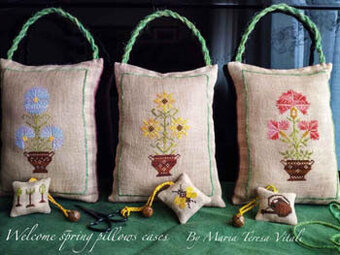 Welcome Spring Pillows - Cross Stitch Pattern