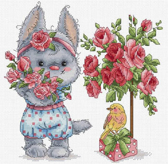 CROSS STITCH CHART  SPRING RABBIT BUNNY FLORAL FLOWER CHART