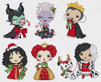 Princesses of Evil Celebrate Christmas Cross Stitch Pattern