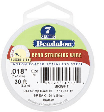 Beadalon Wire - 7 Strand - Sterling Silver Plated - .018 inc