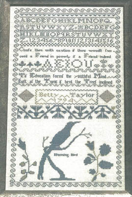 Betty Taylor's 1794 Sampler - Cross Stitch Pattern