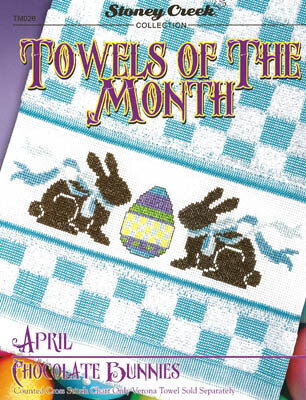 Towels of the Month - April Chocolate Bunnies - Cross Stitch
