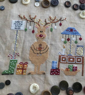 Santa Please Stop Here - Cross Stitch Pattern