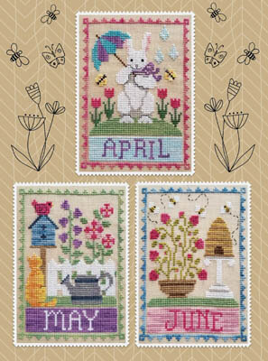 Monthly Trios - April May June - Cross Stitch Pattern