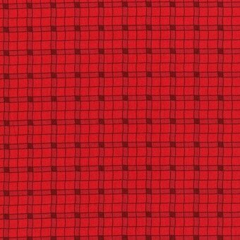 Red Plaid 100% Cotton Fabric Half Yard