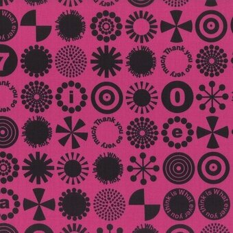 Fuchsia Thank You So Very Much Cotton Fabric Fat Quarter