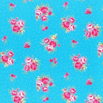 Light Blue Floral and Dots Cotton Fabric Yardage