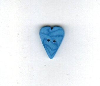 Small Blue Jay Velvet Heart - Button