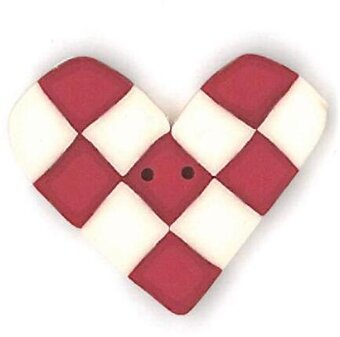 Large Red & White Checked Heart - Button
