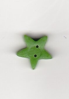 Medium Apple Green Star - Button
