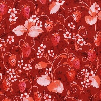 Red Strawberry Floral With Metallic Fabric Half Yard