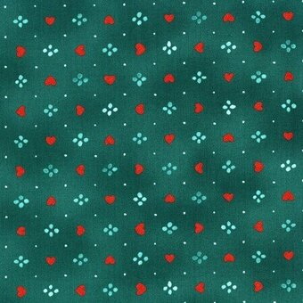 Teal Hearts With Metallic 100% Cotton Fabric Fat Quarter