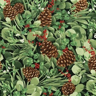 Green Pinecone With Metallic Christmas Fabric Fat Quarter