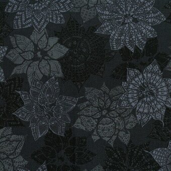 Charcoal Poinsettia Christmas Fabric Fat Quarter