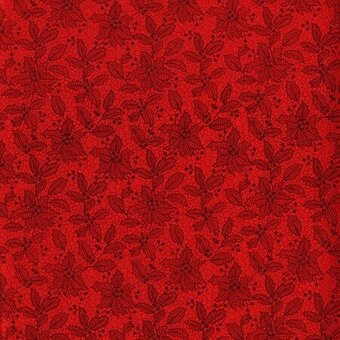 Red Poinsettia With Metallic Christmas Fabric Fat Quarter