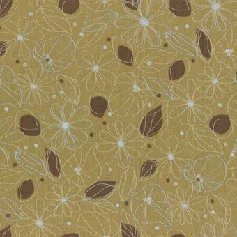 Yellow Flowers Leaves Cotton Linen Mixed Canvas Half Yard