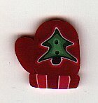 Small Red Mitten With Tree - Button