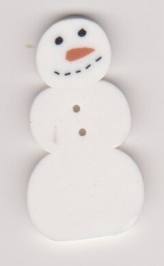 Large Primitive Snowman - Button