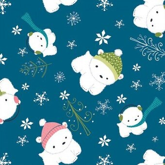 Blue Polar Bear Christmas Cotton Fat Quarter