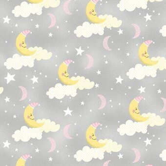 Grey Sleepy Moons 100% Cotton Fabric Fat Quarter
