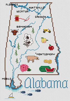 Alabama Map - Cross Stitch Pattern