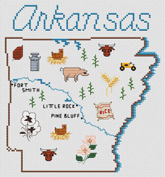 Arkansas Map - Cross Stitch Pattern