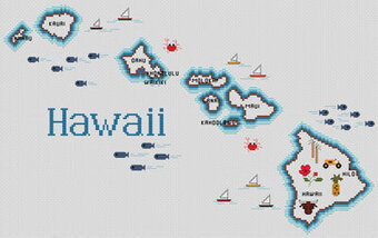 Hawaii Map - Cross Stitch Pattern