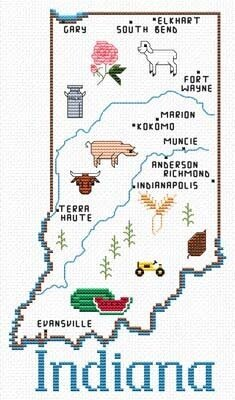 Indiana Map - Cross Stitch Pattern