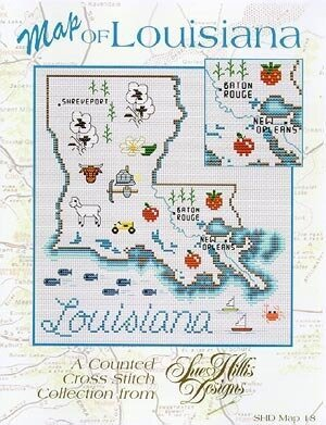 Louisiana Map - Cross Stitch Pattern
