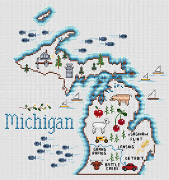 cross stitch patterns michigan