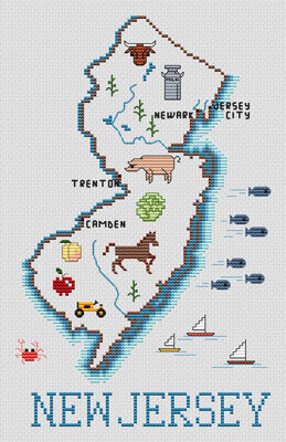 New Jersey Map - Cross Stitch Pattern