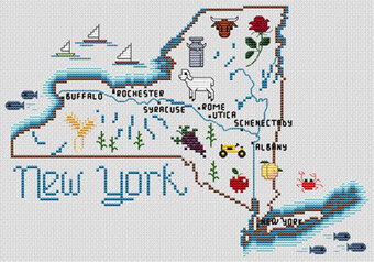 New York Map - Cross Stitch Pattern