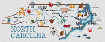 North Carolina Map - Cross Stitch Pattern