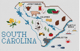 Sue Hillis South Carolina Map - Cross Stitch Pattern - 123Stitch.com