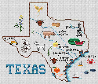 Texas Map - Cross Stitch Pattern