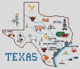 Sue Hillis Texas Map Cross Stitch Pattern 123Stitchcom