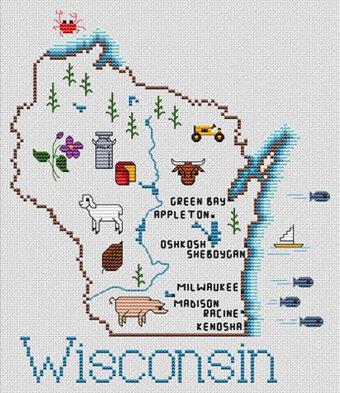 Sue Hillis Wisconsin Map Cross Stitch Pattern 123Stitchcom