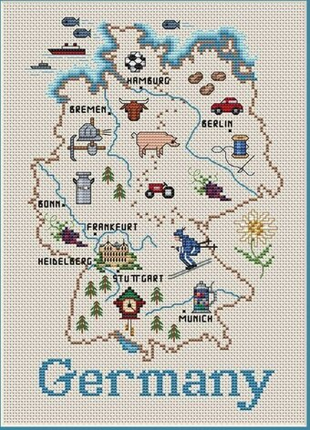 Germany Map - Cross Stitch Pattern